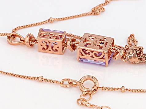 Purple And White Cubic Zirconia 18k Rose Gold Over Sterling Silver Pendant With Chain 7.75ctw