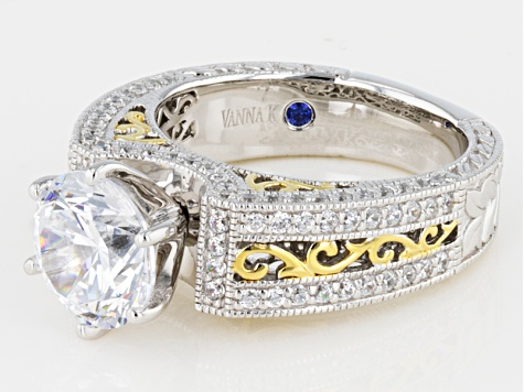 White Cubic Zirconia Platineve And 18k Yellow Gold Over Sterling Silver Ring 6.23ctw