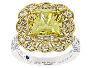 Yellow And White Cubic Zirconia Platineve & 18k Yellow Gold Over Silver Ring 7.95ctw