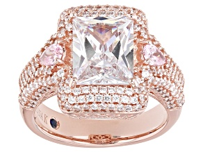 Pink & White Cubic Zirconia 18k Rose Gold Over Sterling Silver Ring 7.56ctw