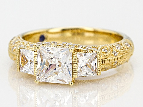White Cubic Zirconia 18k Yellow Gold Over Sterling Silver Ring 3.28ctw