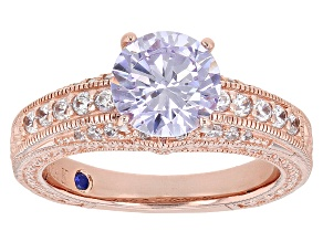 Lavender & White Cubic Zirconia 18k Rose Gold Over Sterling Silver Ring 3.68ctw