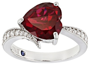Lab Created Ruby And White Cubic Zirconia Platineve Ring 4.09ctw