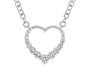 White Cubic Zirconia Platineve Heart Necklace 3.28ctw