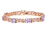 Purple And White Cubic Zirconia 18k Rose Gold Over Sterling Silver Bracelet 15.84ctw
