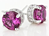 Synthetic Red Corundum & White Cubic Zirconia Platineve Earrings 2.63ctw