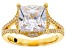 White Cubic Zirconia 18k Yellow Gold Over Silver Ring 6.32ctw