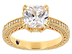 White Cubic Zirconia 18k Yellow Gold Over Sterling Silver Ring 4.61ctw