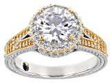 White Cubic Zirconia Platineve & 18k Yellow Gold Over Silver Ring 4.15ctw