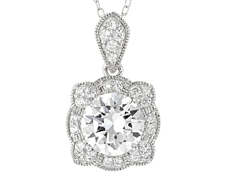 White Cubic Zirconia Platineve Pendant With Chain 3.45ctw