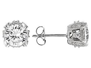 White Diamond Simulant Platineve Earrings 4.73ctw