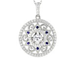 Lab Created Sapphire & White Cubic Zirconia Platineve Pendant With Chain 1.79ctw