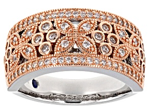 White Cubic Zirconia Platineve & 18k Rose Gold Over Sterling Silver Ring 1.06ctw