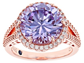 Lavender & White Cubic Zirconia 18K Rose Gold Over Silver Center Design Ring 10.11ctw