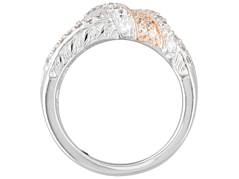 1.82ctw Round White Cubic Zirconia .925 Sterling Silver Crossover Band Ring