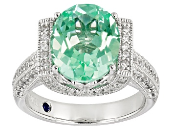 Picture of Lab Created Green Spinel White Cubic Zirconia Platineve Center Design Ring 5.44ctw