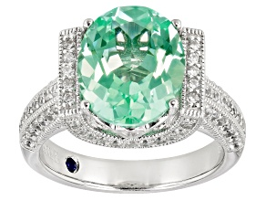Lab Created Green Spinel White Cubic Zirconia Platineve ™ Center Design Ring 5.44ctw