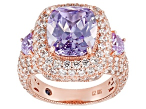 Lavender & White Cubic Zirconia 18K Rose Gold Over Sterling Silver Center Design Ring 14.78ctw