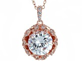 White Cubic Zirconia 18K Rose Gold Over Sterling Silver Pendant With Chain 7.98ctw