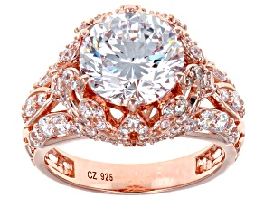 White Cubic Zirconia 18K Rose Gold Over Sterling Silver Center Design Ring 8.63ctw