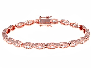 White Cubic Zirconia 18K Rose Gold Over Sterling Silver Bracelet 1.87ctw