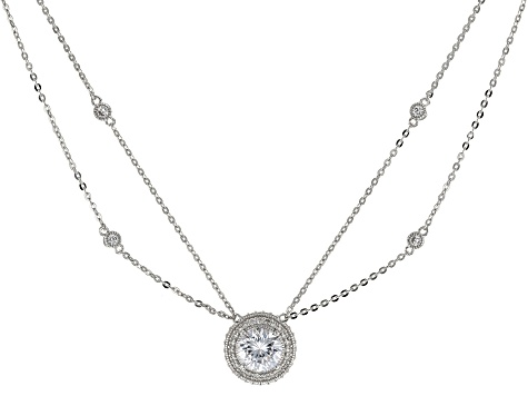 White Cubic Zirconia Platineve ™ Necklace 4.36ctw