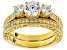 White Cubic Zirconia 18k Yellow Gold Over Sterling Silver Ring 3.48CTW