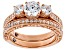 White Cubic Zirconia 18k Rose Gold Over Sterling Silver Ring 3.48CTW