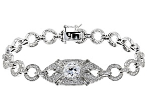 White Cubic Zirconia Platineve Over Sterling Silver Bracelet 6.33CTW