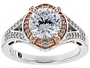 White Cubic Zirconia Platineve ™ & 18K Rose Gold Over Sterling Silver Ring 3.68CTW