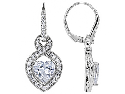 White Cubic Zirconia Platineve ™ Over Sterling Silver Earrings 5.09CTW