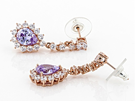 Purple And White Cubic Zirconia 18k Rose Gold Over Sterling Silver Earrings 9.22CTW