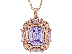 Purple And White Cubic Zirconia 18K Rose Gold Over Sterling Silver Pendant With Chain 3.38CTW
