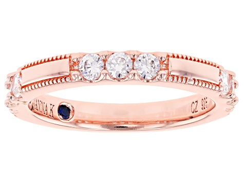 White Cubic Zirconia 18K Rose Gold Over Sterling Silver Band Ring 0.97ctw
