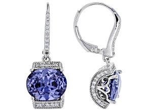 Blue And White Cubic Zirconia Platineve Earrings 7.08ctw
