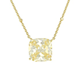 Canary Cubic Zirconia 18K Yellow Gold Over Sterling Silver Center Design Necklace 6.90ctw