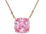 Pink Cubic Ziconia 18K Rose Gold Over Sterling Silver Center Design Necklace 6.98ctw