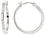 White Cubic Zirconia Platineve Hoop Earrings 1.05ctw