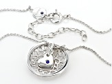 White Cubic Zirconia Platineve Pendant With Chain 0.73ctw