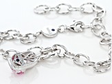 Pink Cubic Zirconia Platineve Charm With Bracelet 0.89ctw