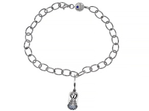 Lab Blue Spinel Platineve Charm With Bracelet 0.15ctw