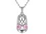 Pink Cubic Zirconia Platineve Baby Shoe Pendant With Chain 0.89ctw