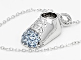 Lab Blue Spinel Platineve Baby Shoe Pendant With Chain 0.21ctw