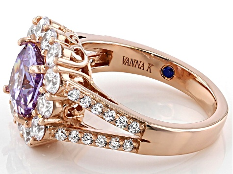 Lavender And White Cubic Zirconia 18k Rose Gold Over Sterling Silver Ring 6.67ctw
