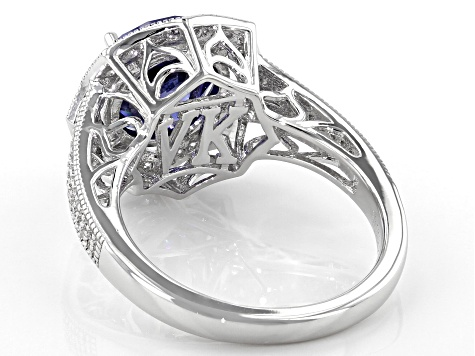 Blue And White Cubic Zirconia Platineve Ring 6 44ctw Vkb857 Jtv Com