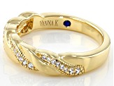 White Cubic Zirconia 18k Yellow Gold Over Sterling Silver Ring 0.28ctw