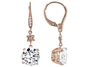 White Cubic Zirconia 18k Rose Gold Over Sterling Silver Earrings 8.50ctw