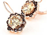 Champagne and Mocha Cubic Zirconia 18k Rose Gold Over Sterling Silver Earrings 7.75ctw