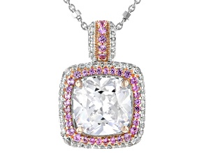 Lab Pink Sapphire And White Cubic Zirconia Platineve® And 18k Rose Gold Over Silver Pendant W/ Chain