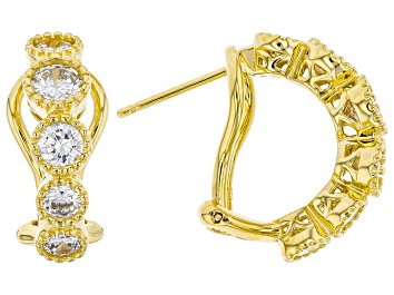 Picture of White Cubic Zirconia 18k Yellow Gold Over Sterling Silver Hoop Earrings 3.10ctw